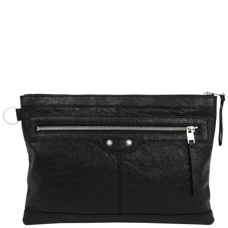 Balenciaga Black Leather Clip M Clutch