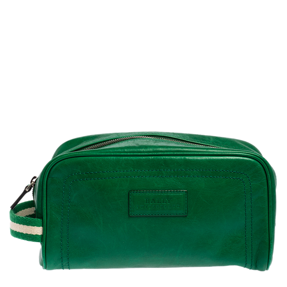 Pre-owned Bally Green Leather Takimo Toiletry Pouch