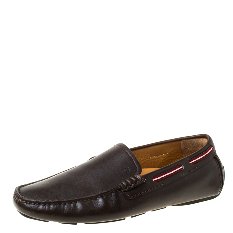 Bally Brown Leather Wakos Slip On Loafers Size 41
