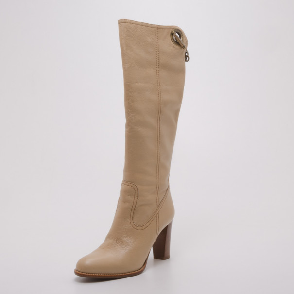 Bally Beige Leather Western Boots Size 36