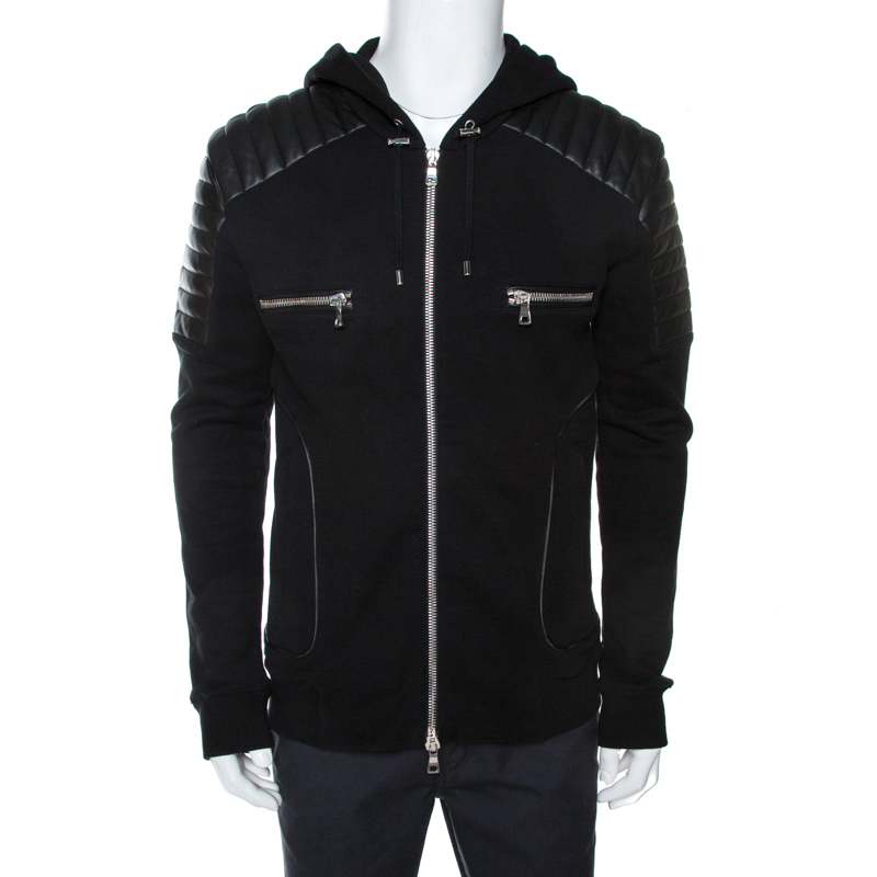 Balmain Black Knit Leather Trim Zip Front Hooded Jacket XL