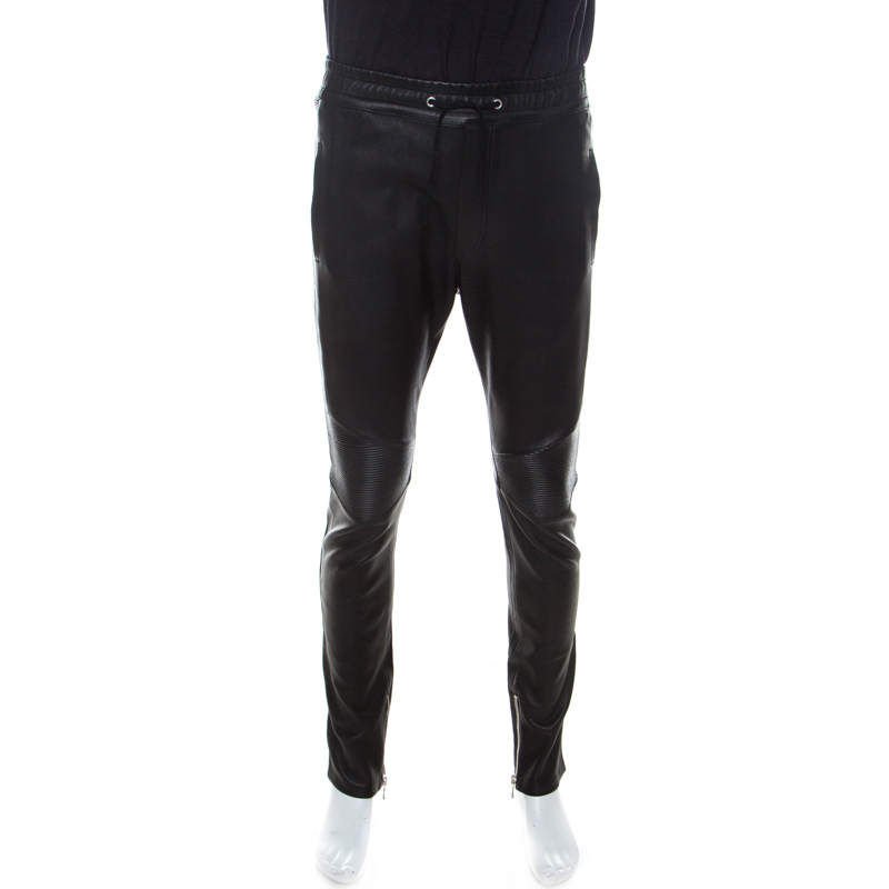 Balmain Black Leather Biker Track Pants XL
