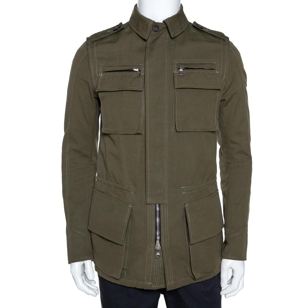 Balmain Olive Green Cotton Linen Zip Front Jacket M