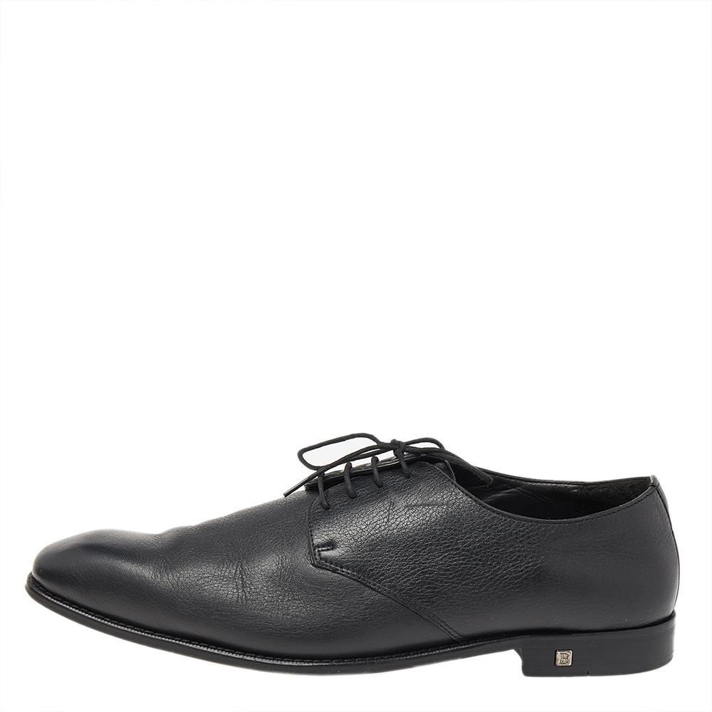 Balmain Black Leather Lace Up Derby Size 46