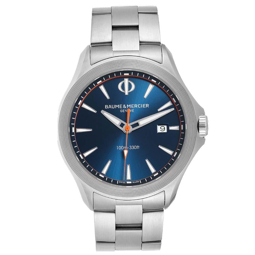 Pre-owned Baume & Mercier Baume Mercier Blue Stainless Steel Clifton M0a10413 Men's Wristwatch 42 Mm
