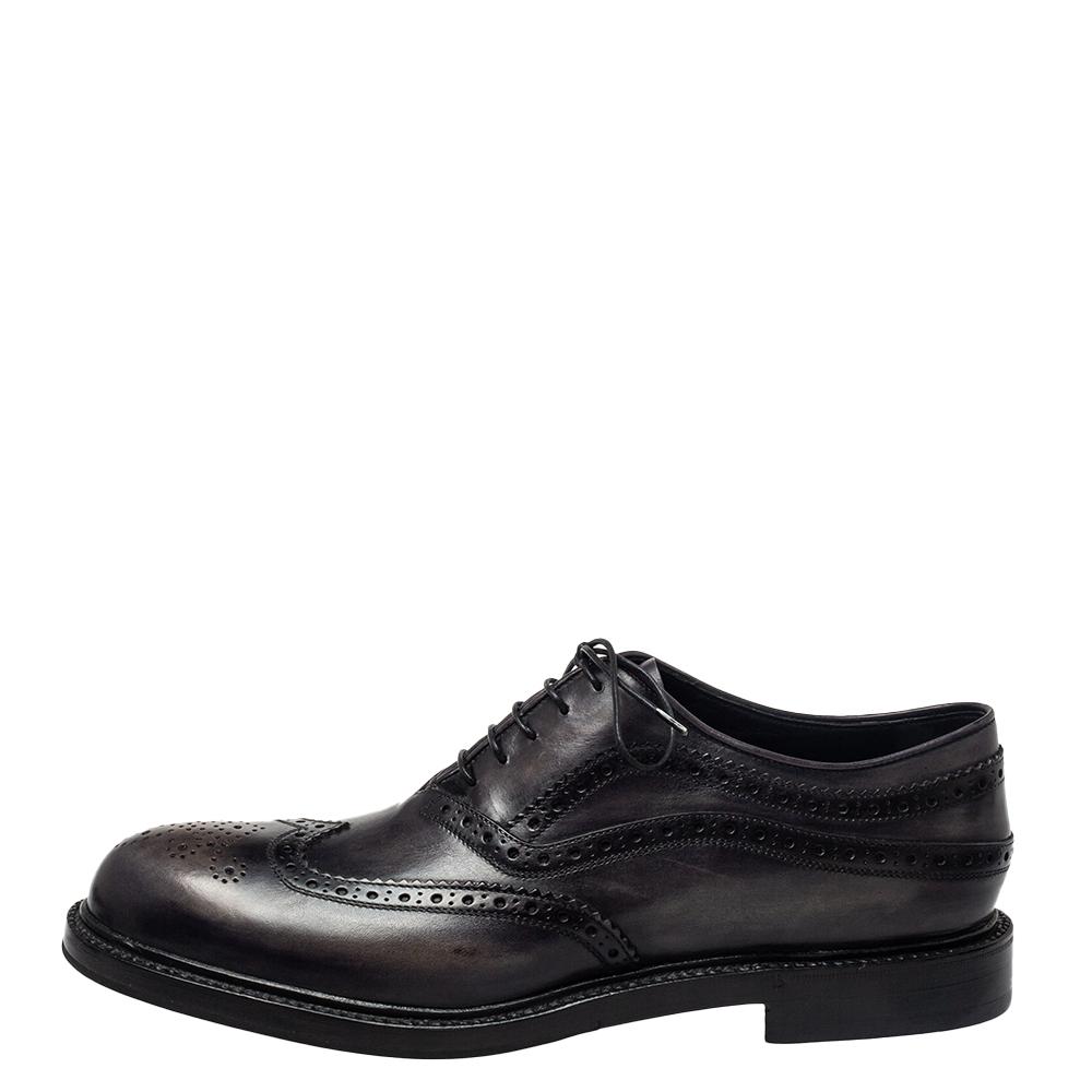 Berluti Dark Grey Brogue Leather Lace Up Oxfords Size 44