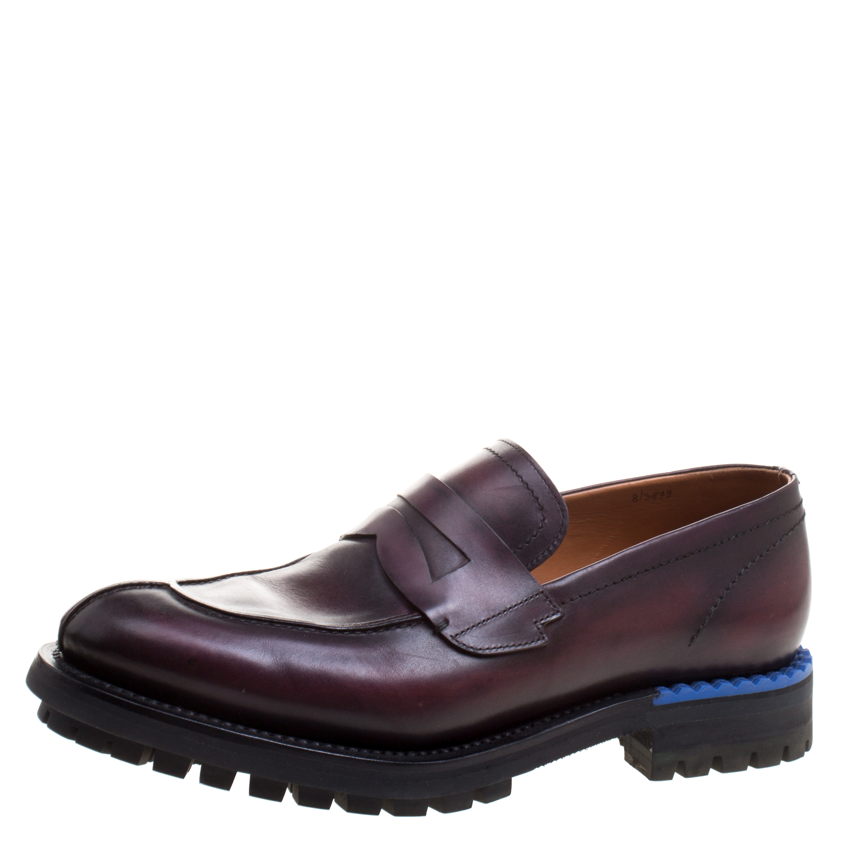 Berluti Two Tone Burgundy Leather Penny Loafers Size 42