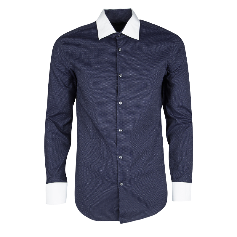 b50edb2b9 ... Hugo Boss Navy Blue Dotted Long Sleeve Slim Fit Jonnes Shirt S.  nextprev. prevnext