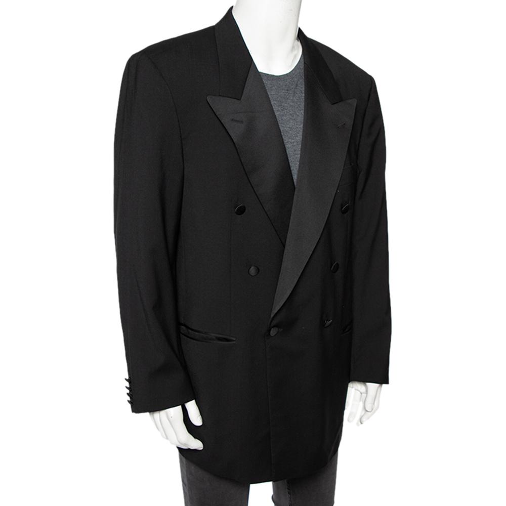 Boss By Hugo Boss Black Wool Double Breasted Tuxedo XXXL