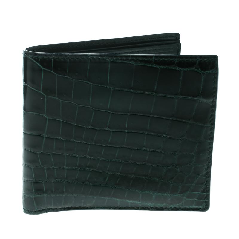 b6ef45cb67 ... Bottega Veneta Green Crocodile Bi Fold Wallet. nextprev. prevnext