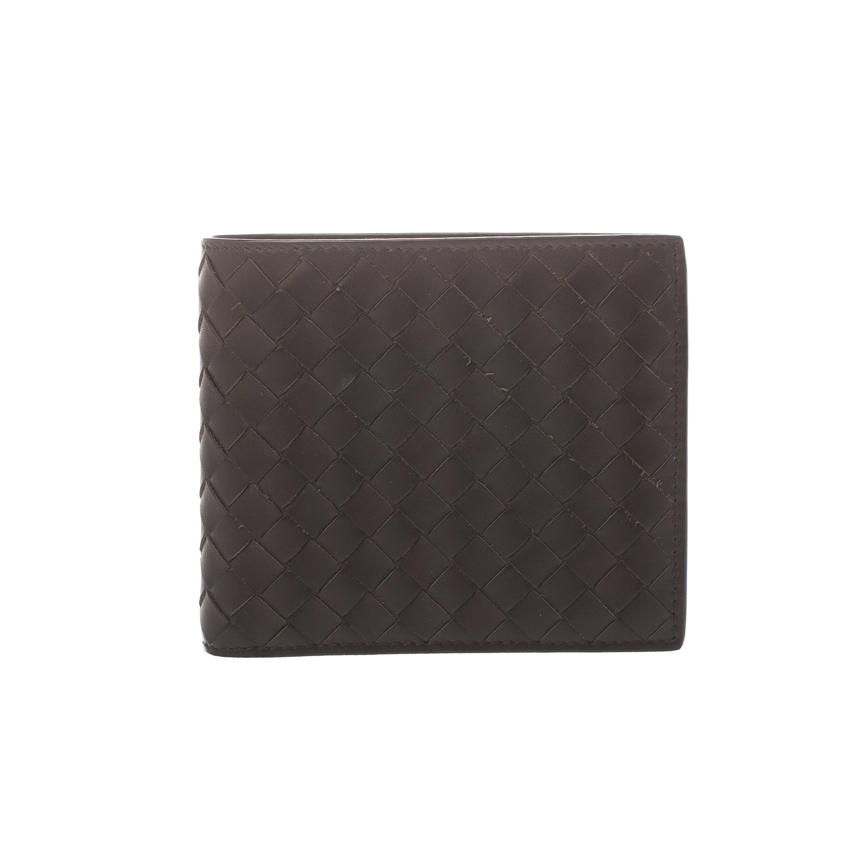 187abb1337 Bottega Veneta Dark Brown Intrecciato Leather Bifold Wallet