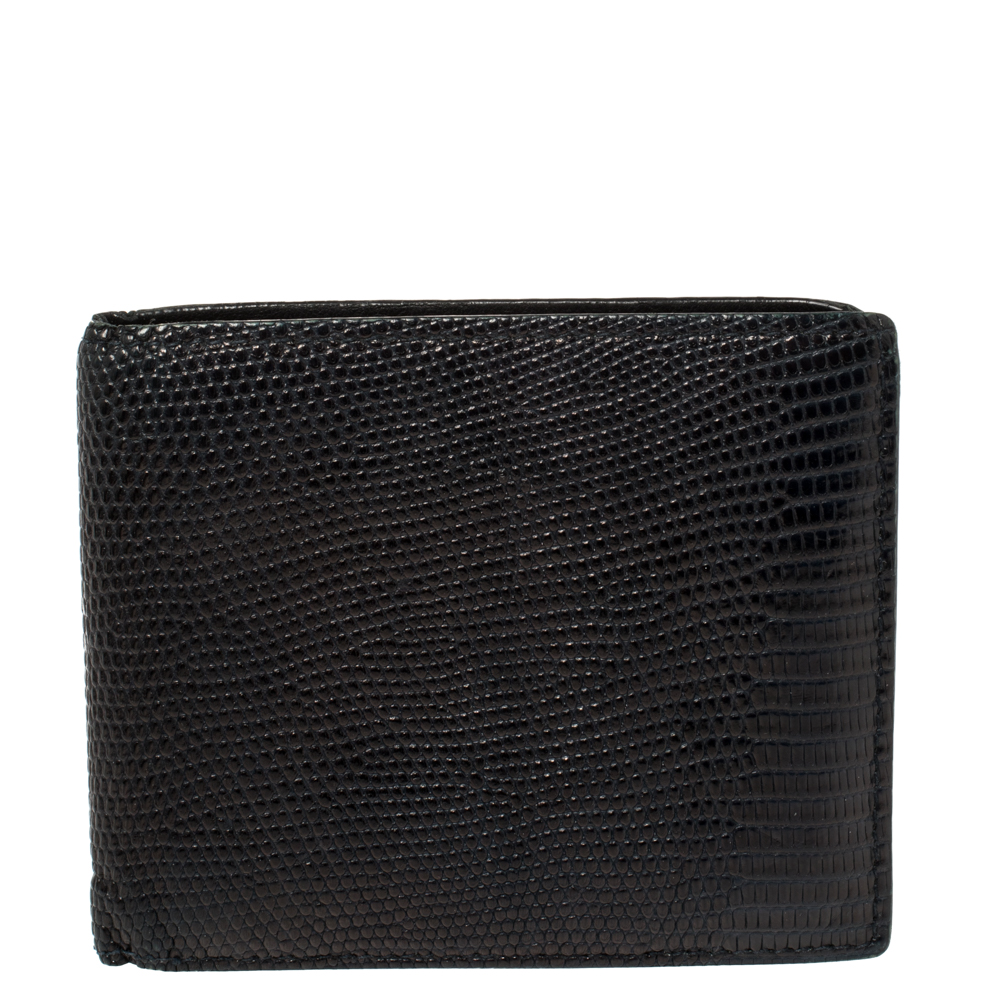 Pre-owned Bottega Veneta Midnight Blue Lizard Bifold Wallet