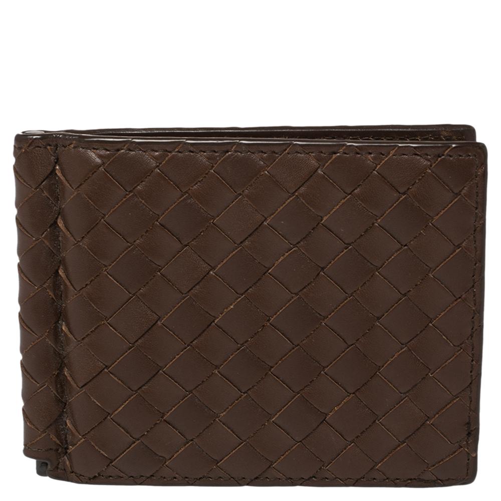 Pre-owned Bottega Veneta Brown Intrecciato Leather Money Clip Bifold Wallet