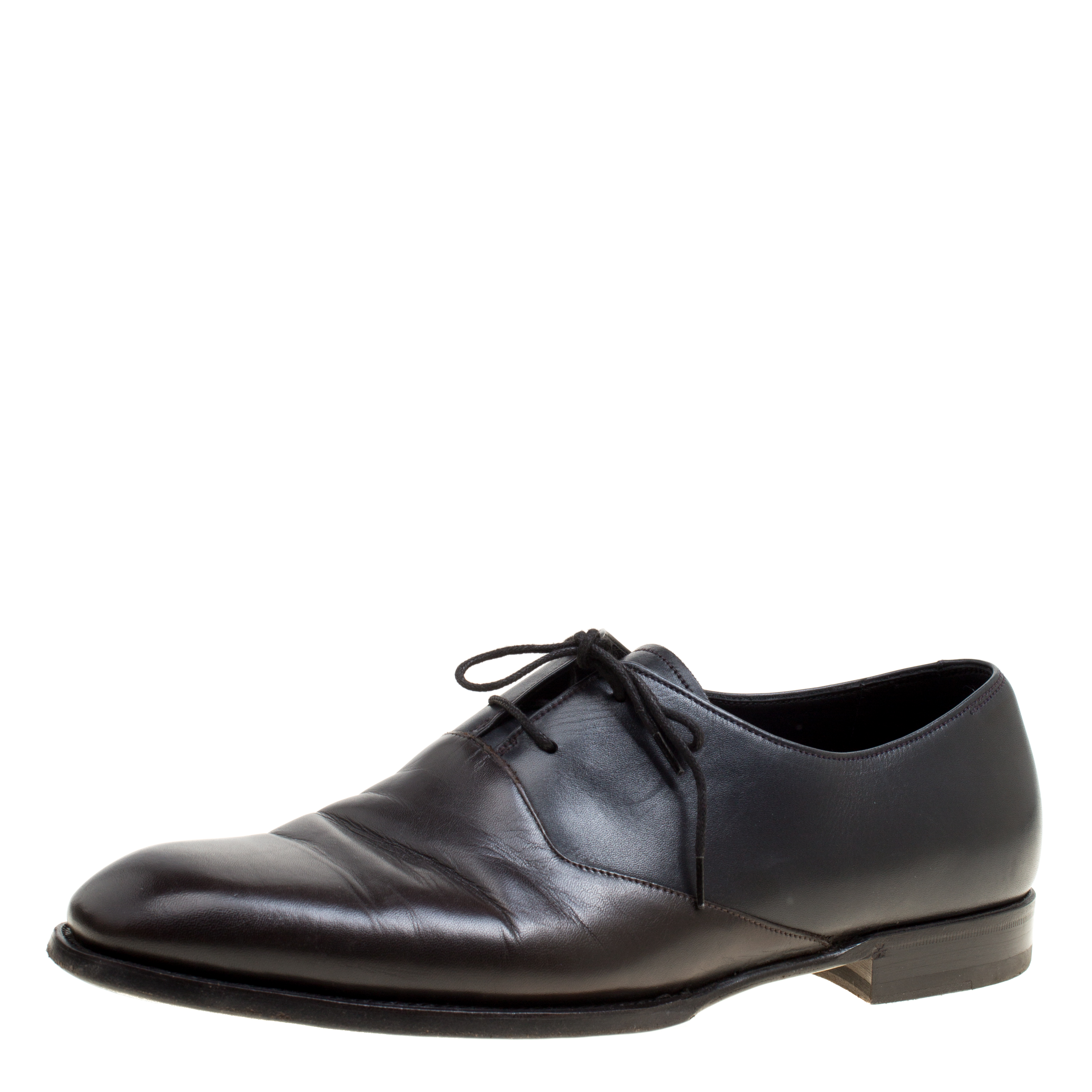 Bottega Veneta Black/Brown Leather Oxfords Size 42