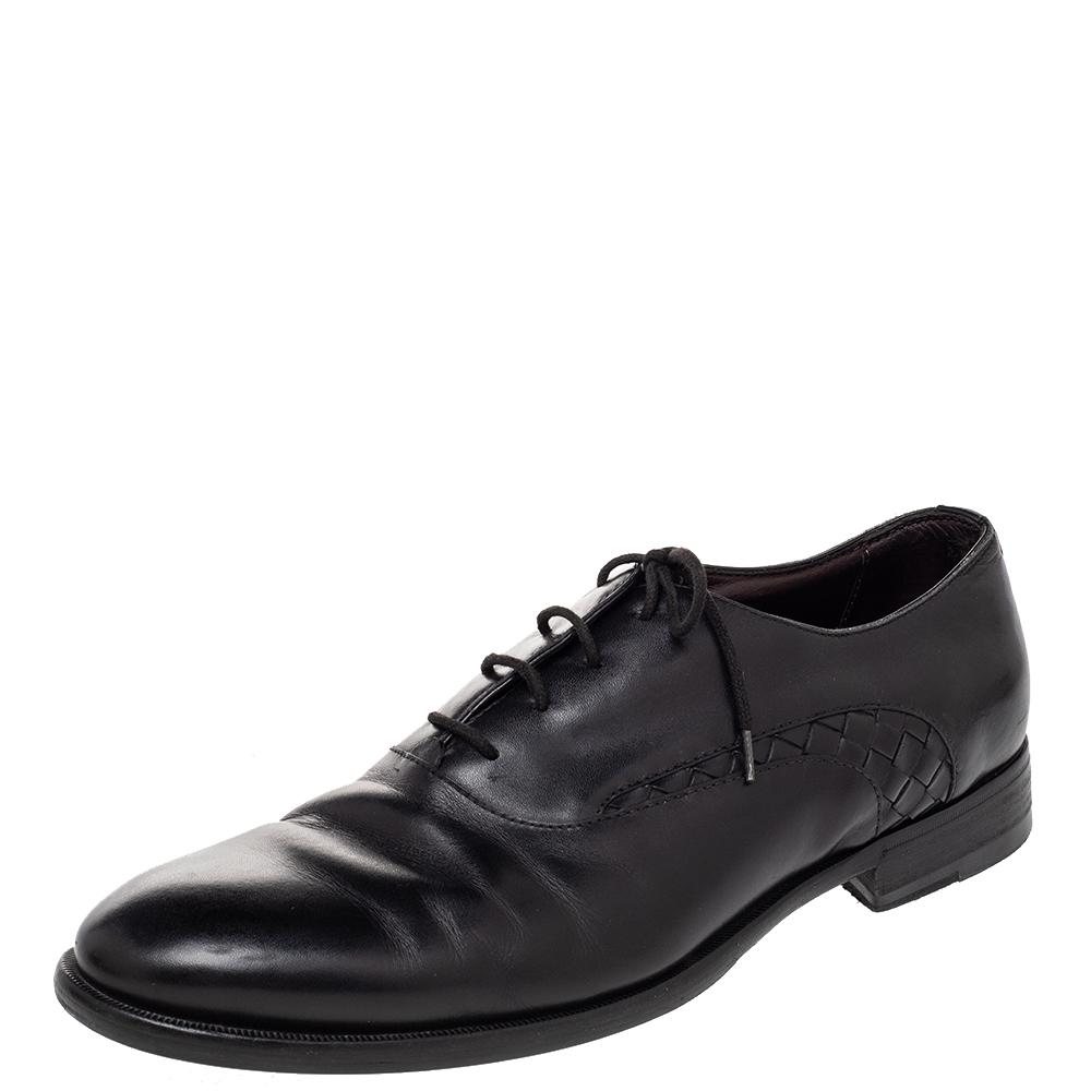 Pre-owned Bottega Veneta Black Intrecciato Leather Lace Up Oxford Size 43
