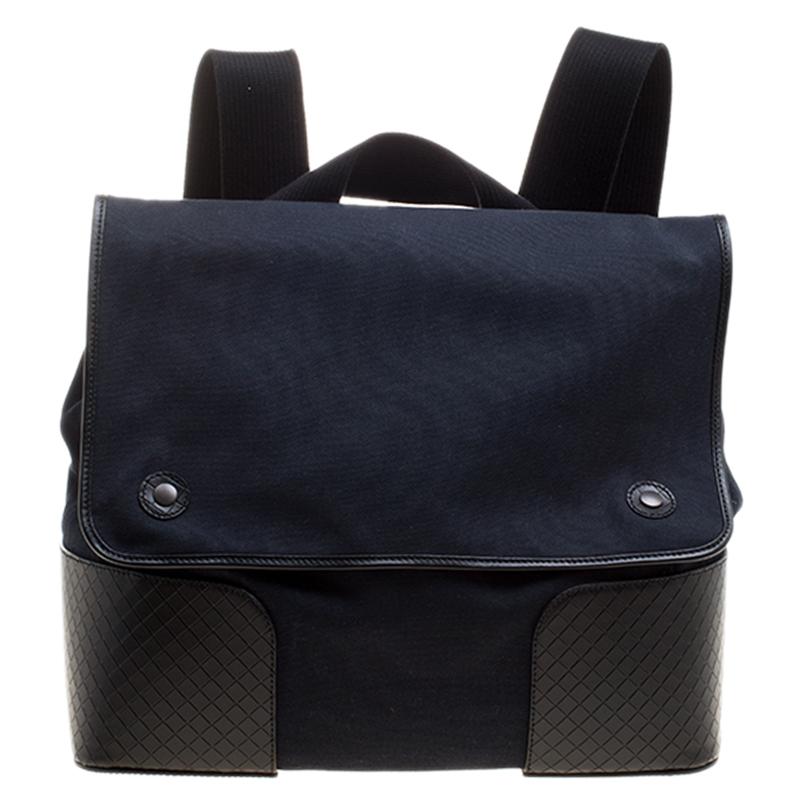 f74e01f04a19 ... Bottega Veneta Navy Blue Black Canvas and Intrecciato Leather Backpack.  nextprev. prevnext