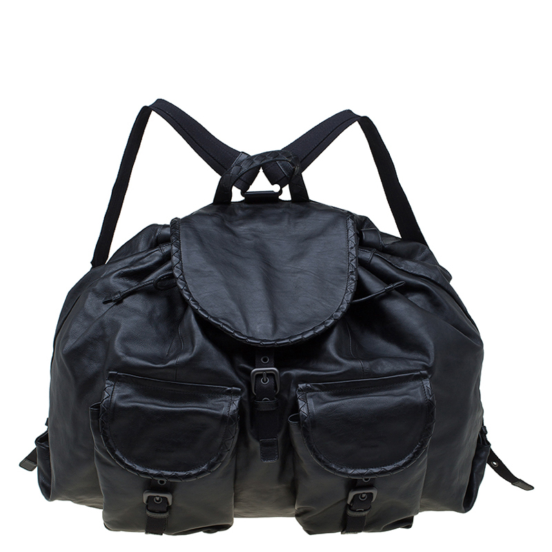 Купить со скидкой Bottega Veneta Black Leather Drawstring Backpack
