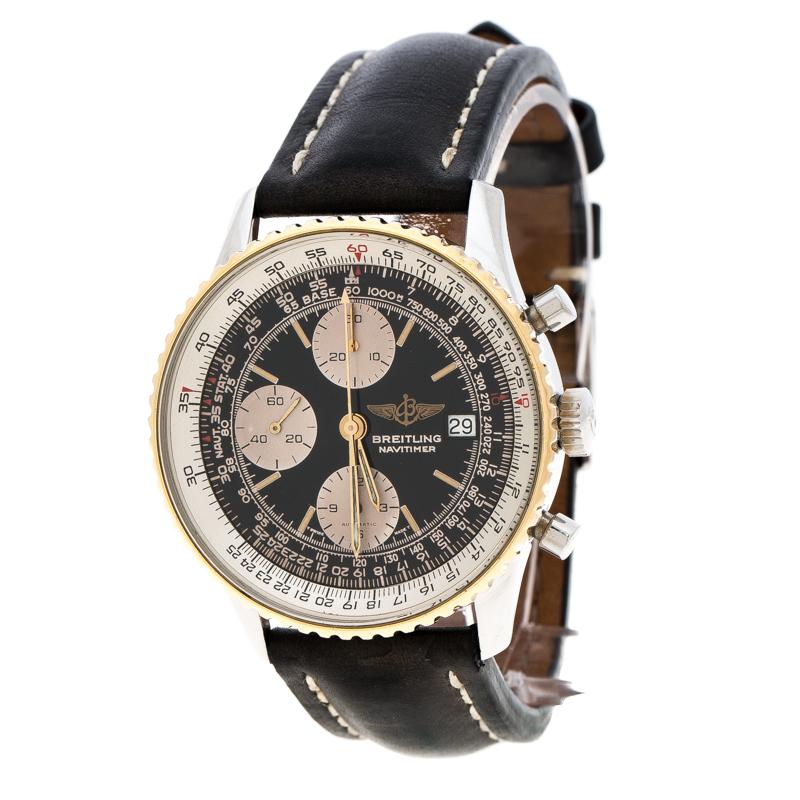Breitling Black Stainless Steel Navitimer B13019 Men S Wristwatch 40 Mm