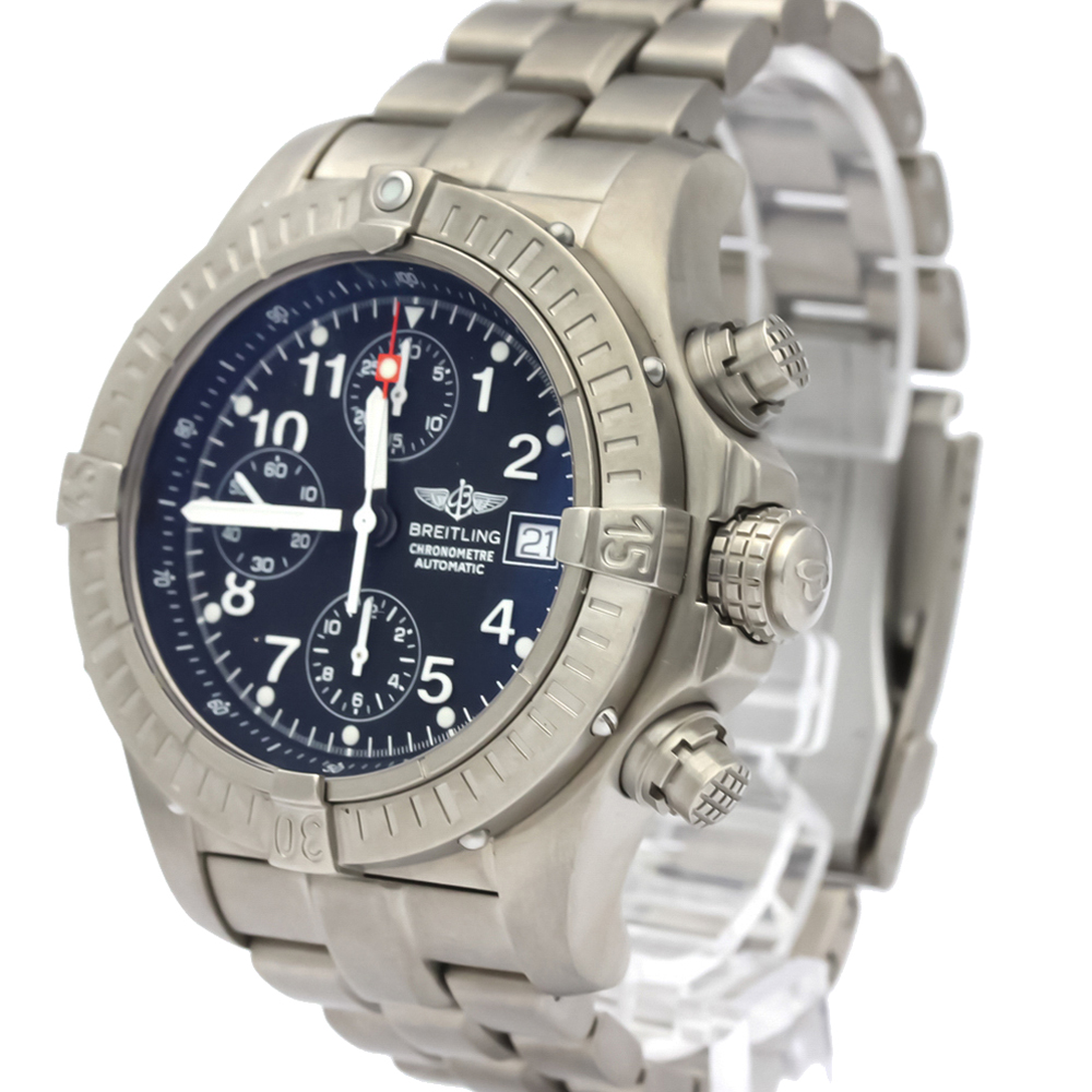 Pre-owned Breitling Black Titanium Avenger Automatic E13360 Men's Wristwatch 44 Mm