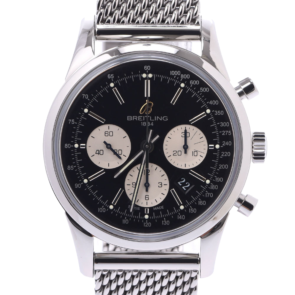 Pre-owned Breitling Black Stainlss Steel Transocean Chronograph Limited 2000 Ab0151 Men's Wristwatch 43 Mm