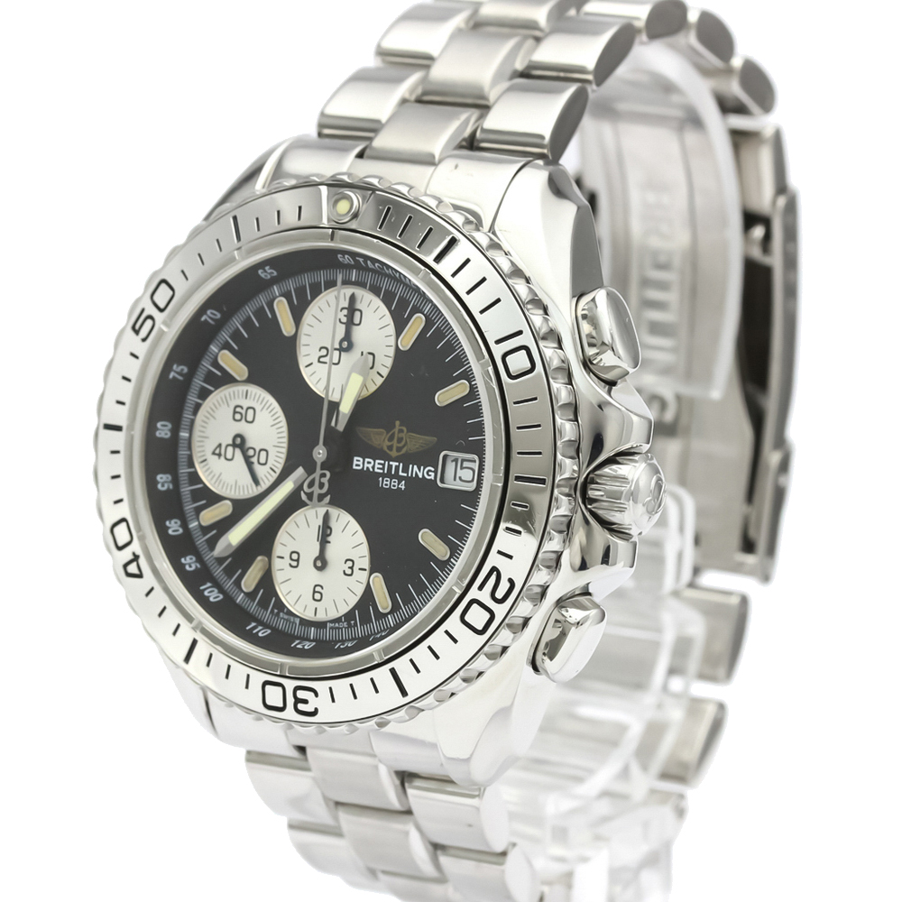 Pre-owned Breitling Black Stainless Steel Chrono Shark Automatic A13051 Men's Wristwatch 41 Mm