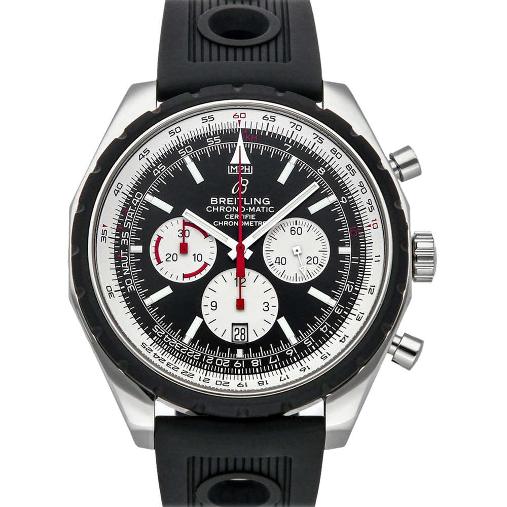 Pre-owned Breitling Black Stainless Steel Chrono-matic A1436002/b920 Men's Wristwatch 49 Mm