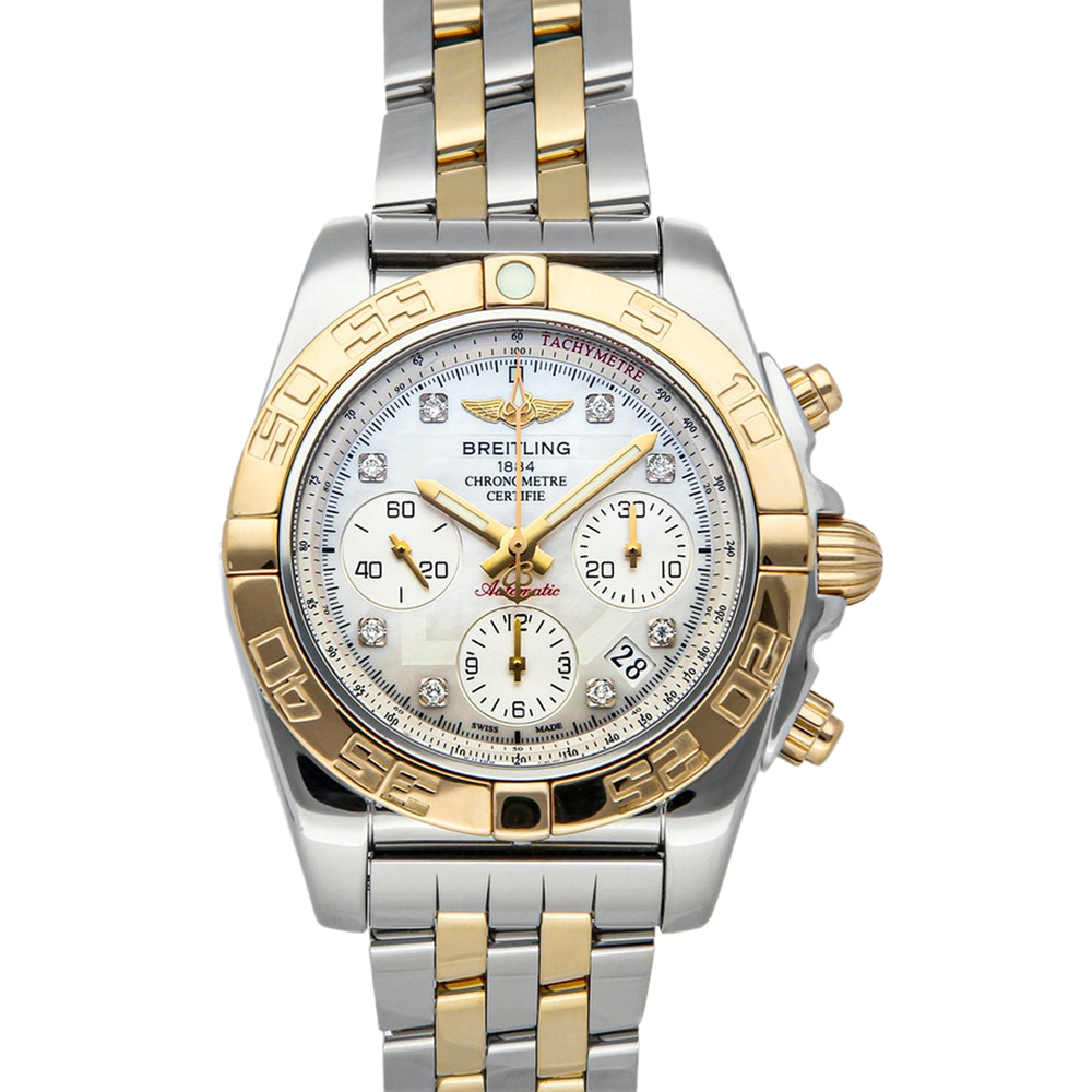 Pre-owned Breitling Mop Diamonds 18k Yellow Gold And Stainless Steel Chronomat 01 Cb014012/a723 Men's Wristwatch 41 Mm In White