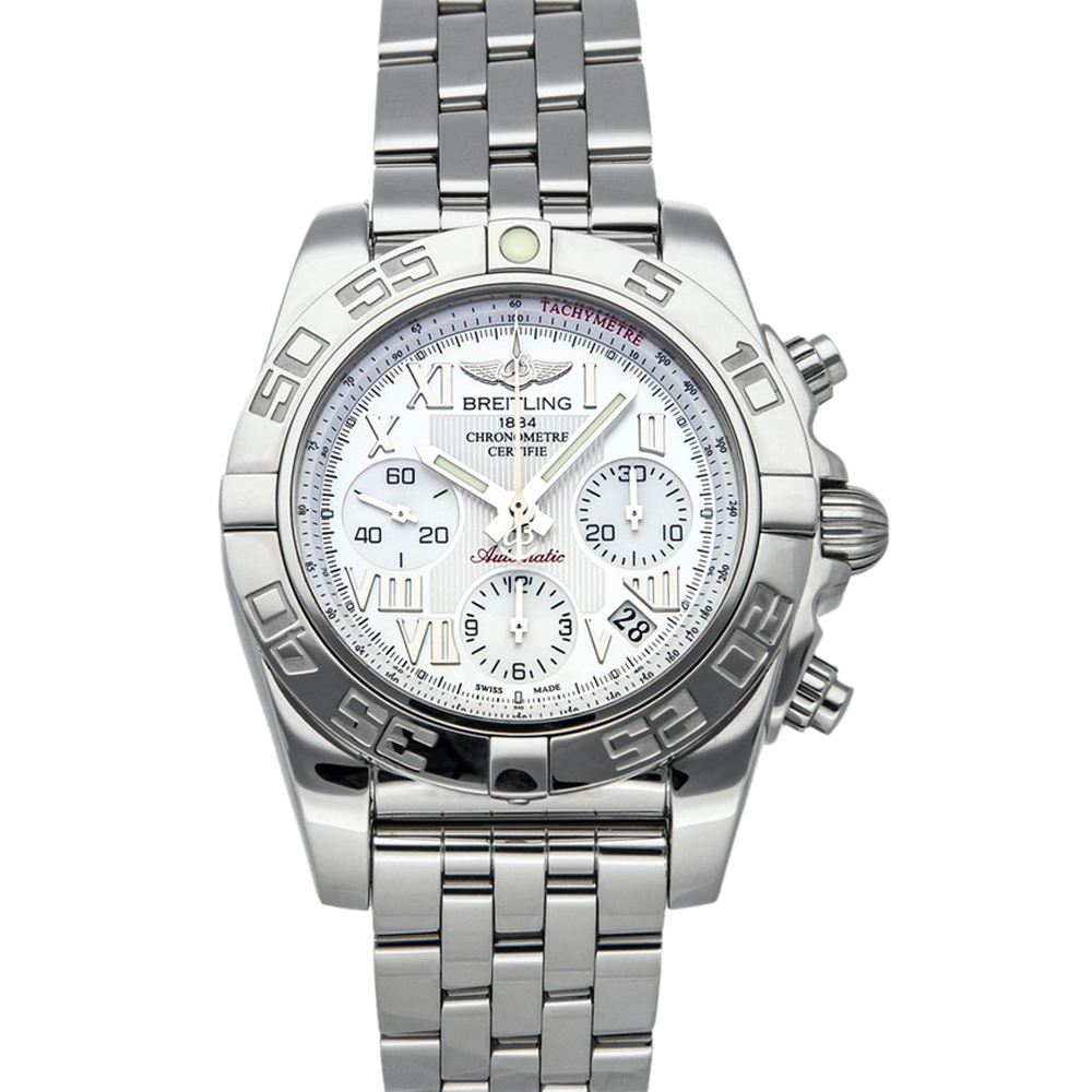 Pre-owned Breitling Silver Stainless Steel Chronomat Ab014012/a746 Men's Wristwatch 41 Mm In White