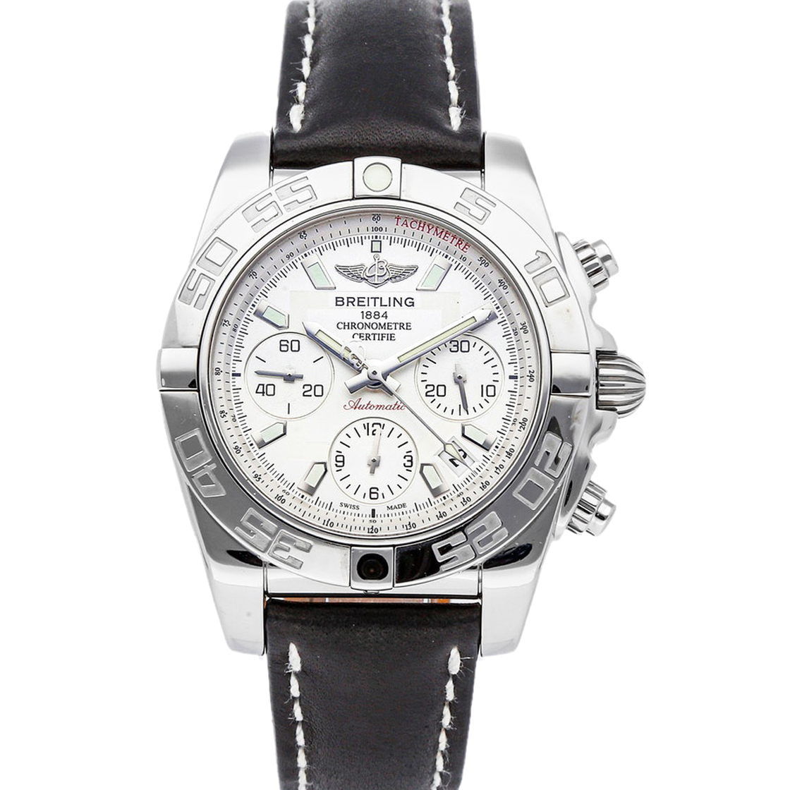 Pre-owned Breitling Silver Stainless Steel Chronomat Ab014012/g711 Men's Wristwatch 41 Mm