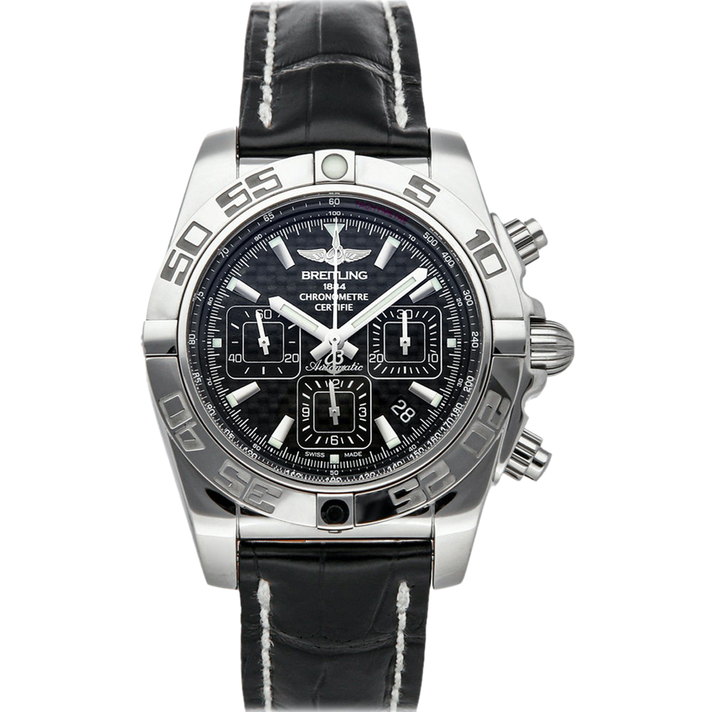 Pre-owned Breitling Black Stainless Steel Chronomat Ab011012/bf76 Men's Wristwatch 44 Mm