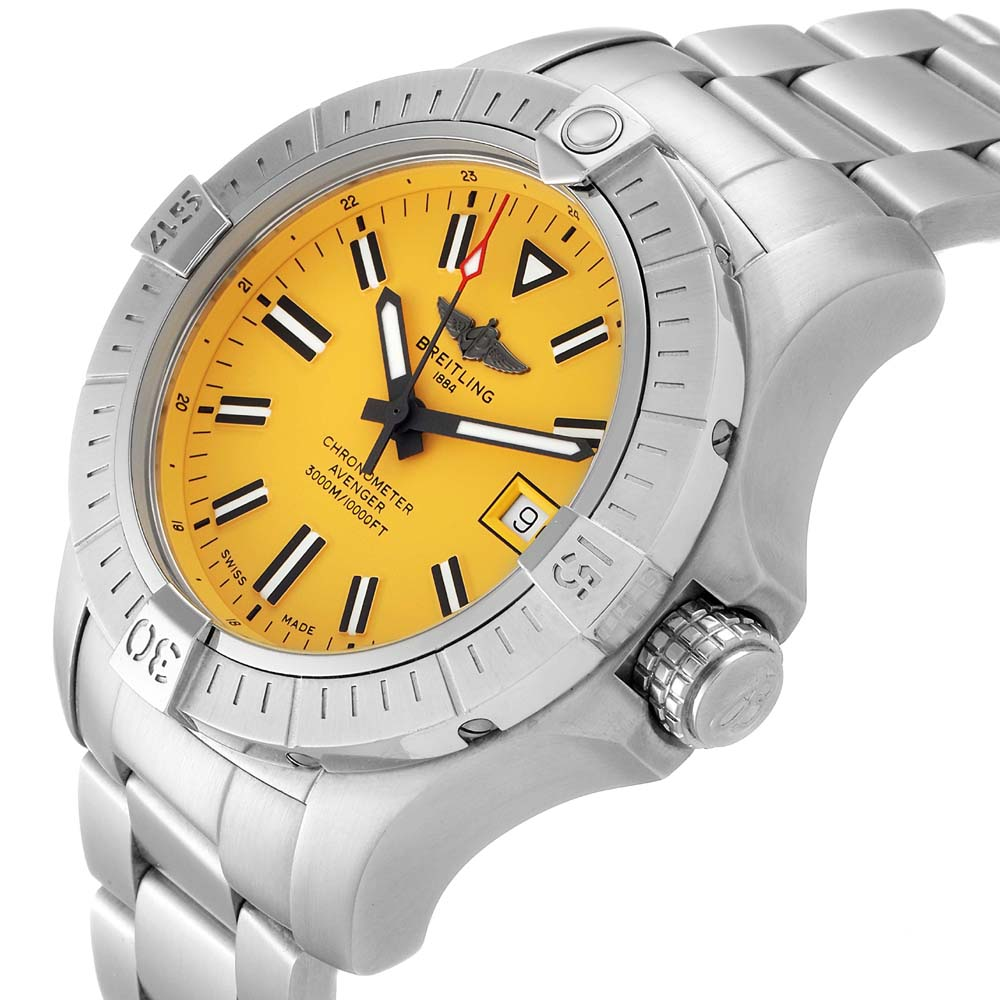 Breitling Yellow Stainless Steel Avenger Seawolf A17319 Men's Wristwatch 45 MM  - buy with discount