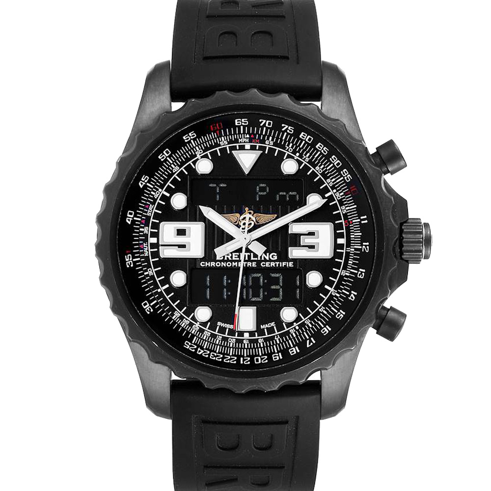 BREITLING BLACK PVD STAINLESS STEEL CHRONOSPACE LIMITED EDITION M78365 MEN'S WRISTWATCH 49 MM