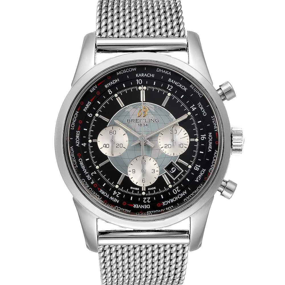 BREITLING BLACK STAINLESS STEEL TRANSOCEAN CHRONOGRAPH UNITIME AB0510 MEN'S WRISTWATCH 46 MM