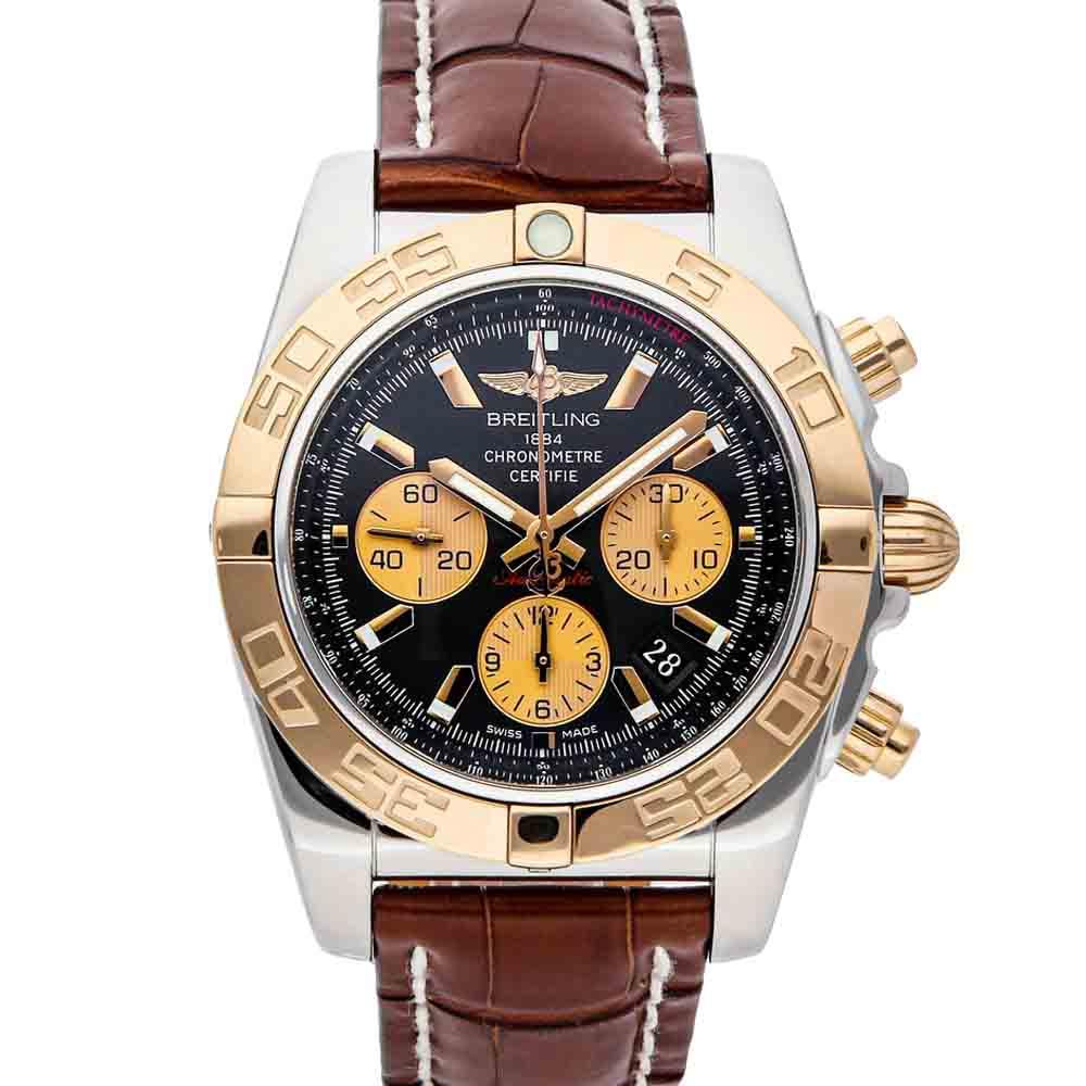 BREITLING BLACK 18K ROSE GOLD AND STAINLESS STEEL CHRONOMAT CB011012/B968 MEN'S WRISTWATCH 44 MM
