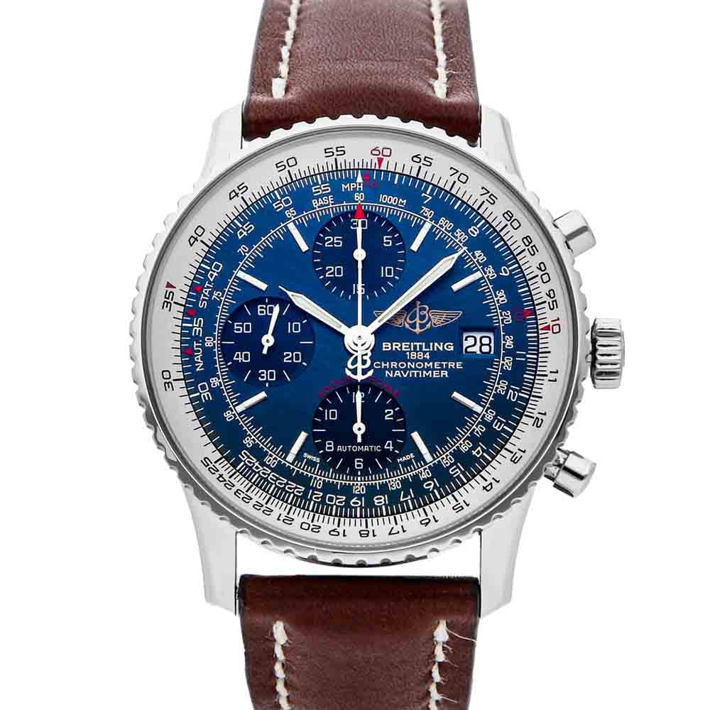 BREITLING BLUE STAINLESS STEEL NAVITIMER HERITAGE CHRONOGRAPH A1332412/C942 MEN'S WRISTWATCH 42 MM