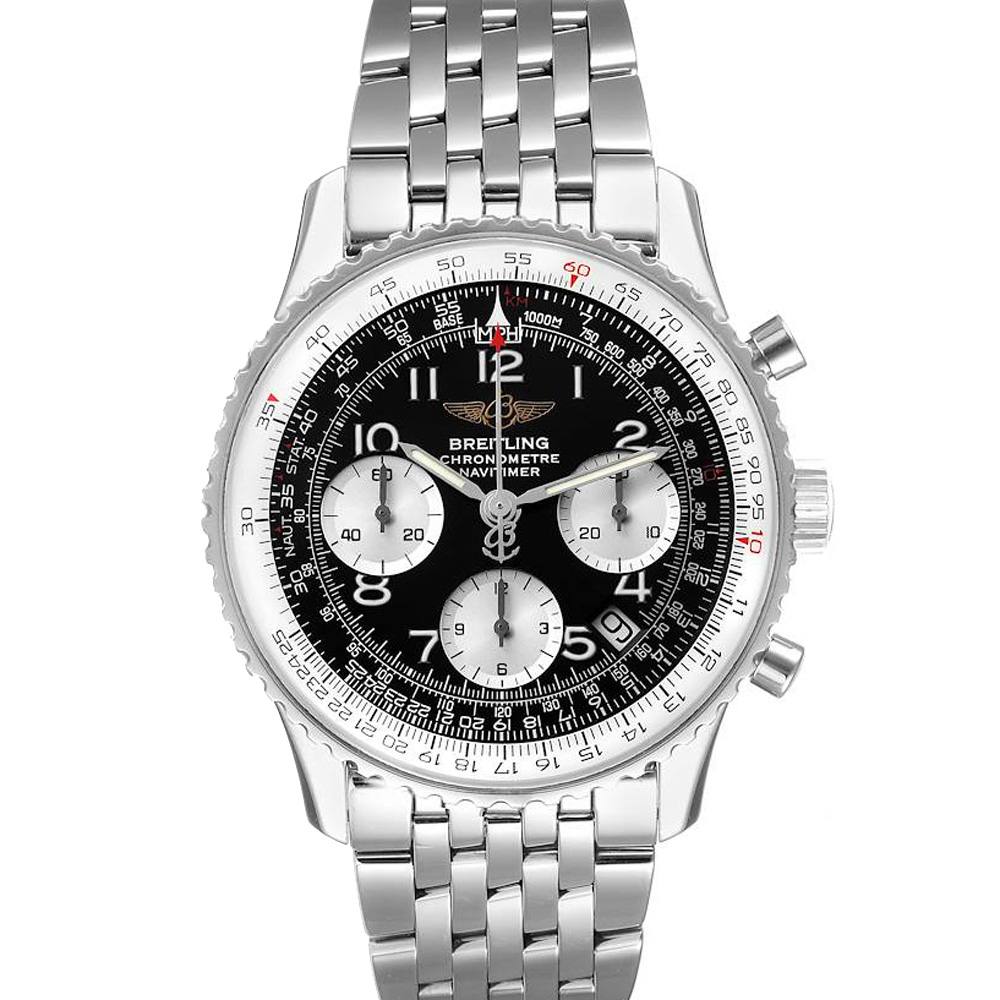 Pre-owned Breitling Black Stainless Steel Navitimer Chronograph A23322 Men's Wristwatch 42 Mm