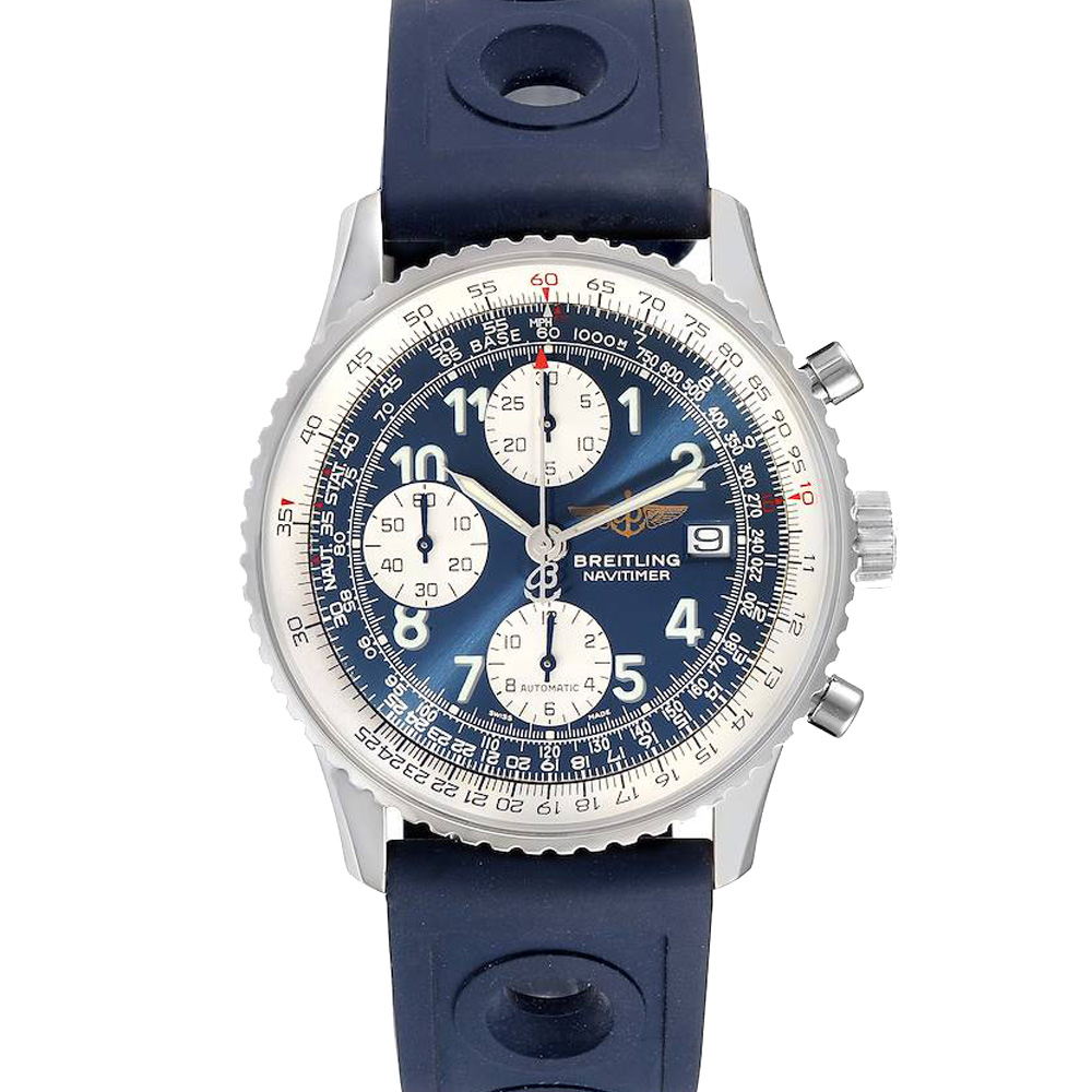 Pre-owned Breitling Blue Stainless Steel Navitimer Ii Chronograph A13322 Men's Wristwatch 42 Mm
