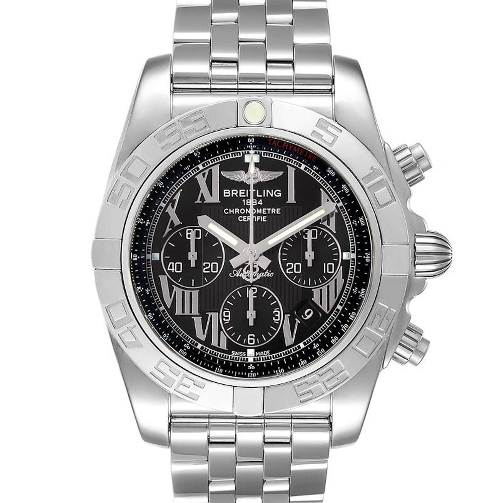 Pre-owned Breitling Black Stainless Steel Chronomat 01 Ab0110 Men's Wristwatch 43.5 Mm