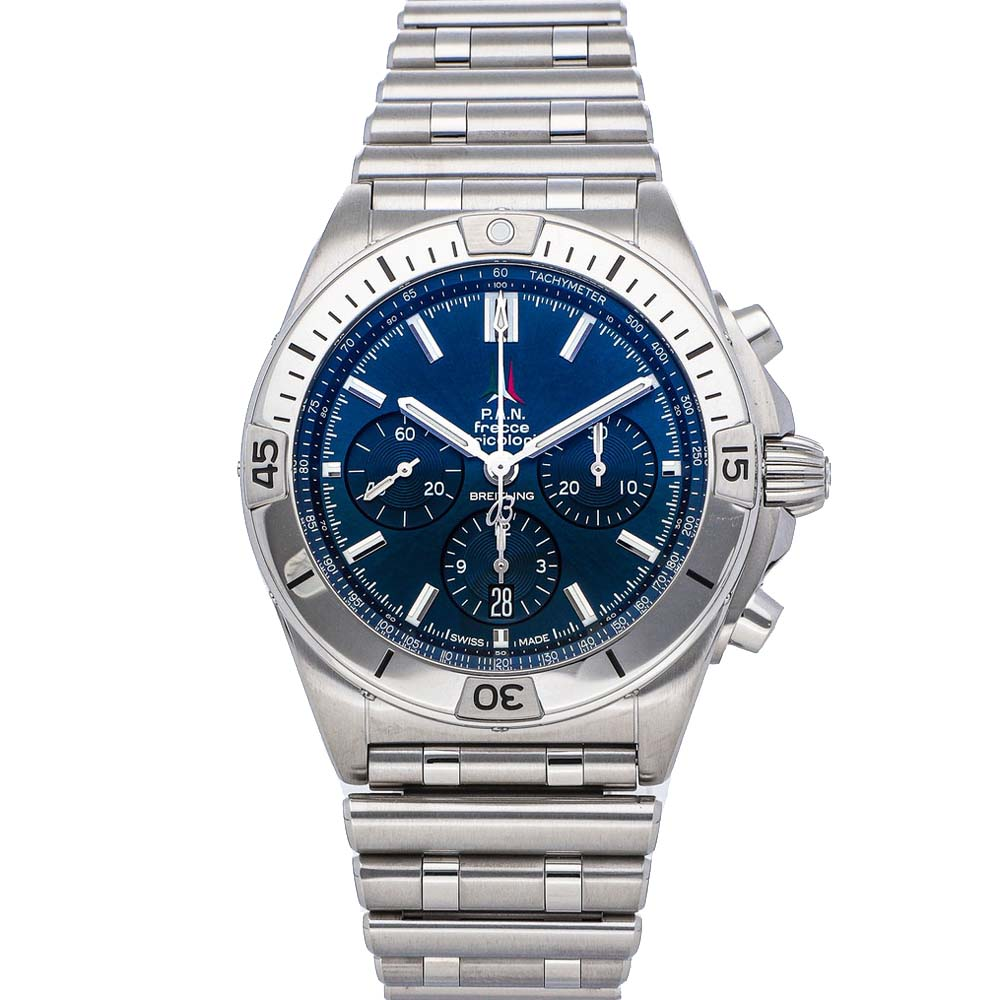 BREITLING BLUE STAINLESS STEEL CHRONOMAT B01 FRECCE TRICOLORI LIMITED EDITION AB01344A1C1A1 MEN'S WRISTWATCH 4