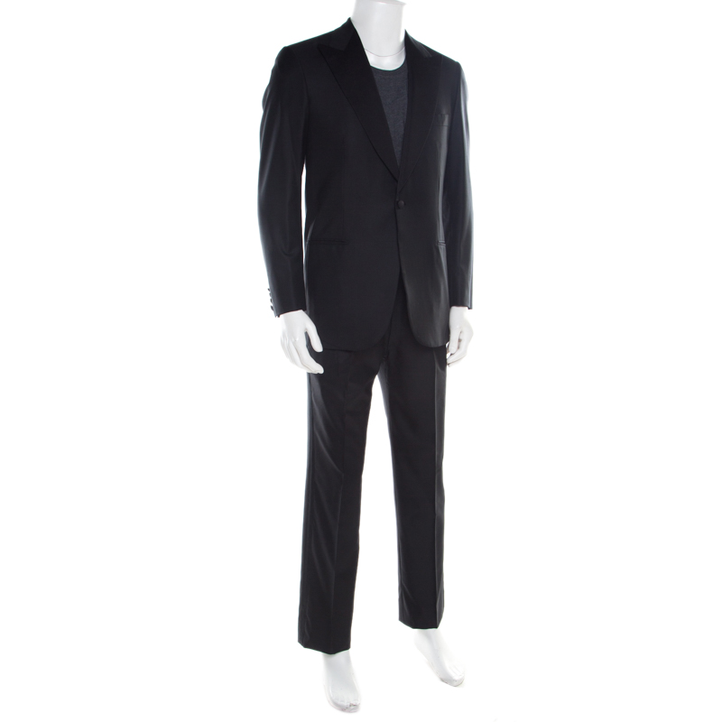 Brioni Schwarze Super 160s Wolle Quirinale Tuxedo Anzug M