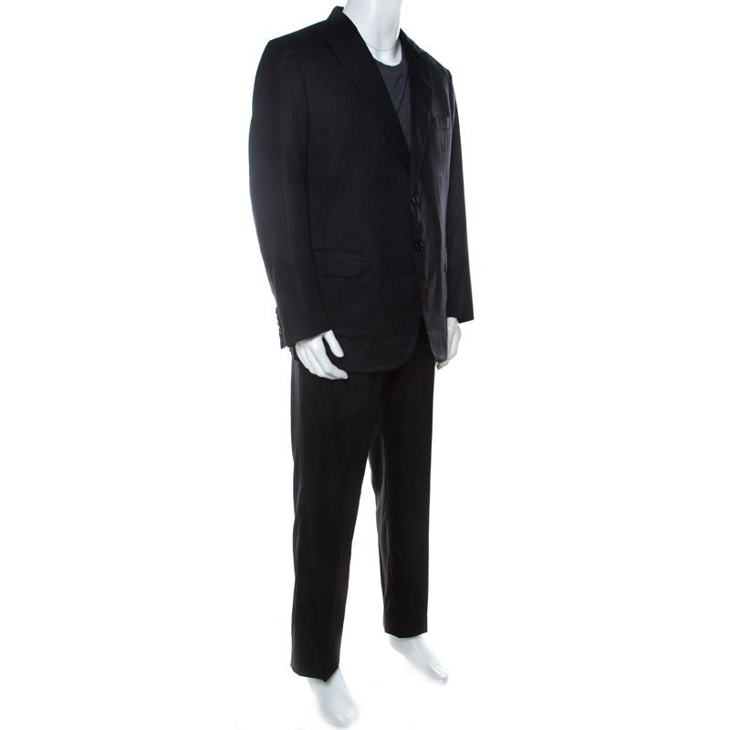 Brioni Black Tonal Striped Wool Blend Lowndes Suit 2XL