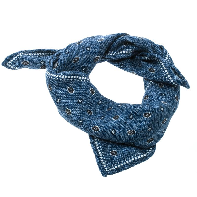 Купить со скидкой Brunello Cucinelli Indigo Printed and Plaid Checked Silk Reversible Pocket Square