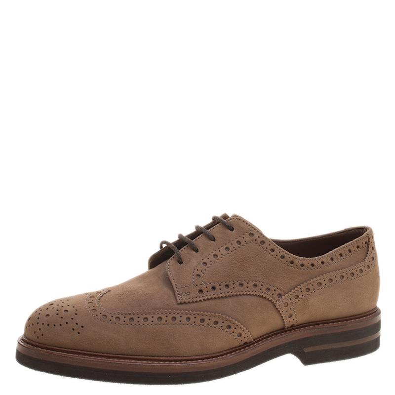 Brunello Cucinelli Brown Suede Brogue Lace Up Oxfords Size 44
