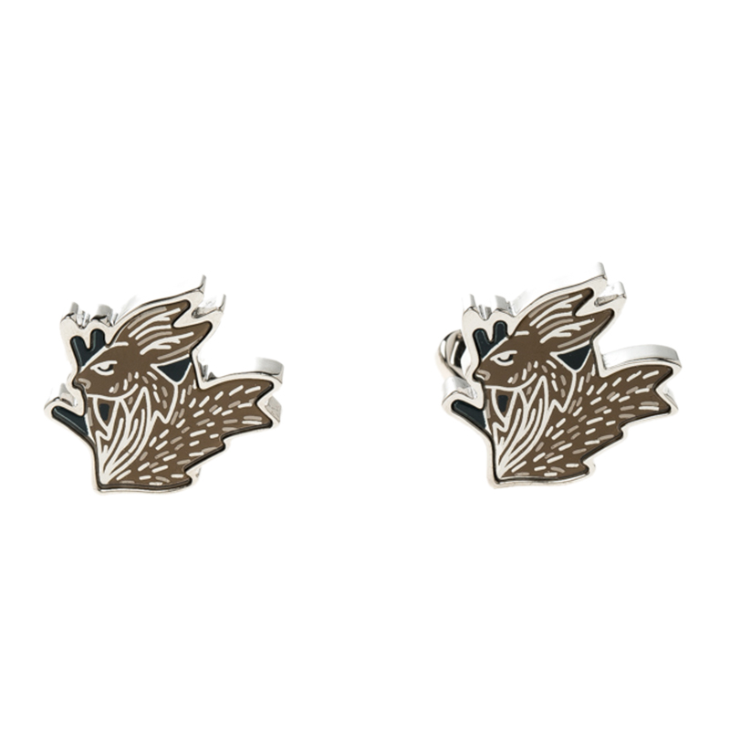 Burberry Hare Enamel Silver Tone Cufflinks