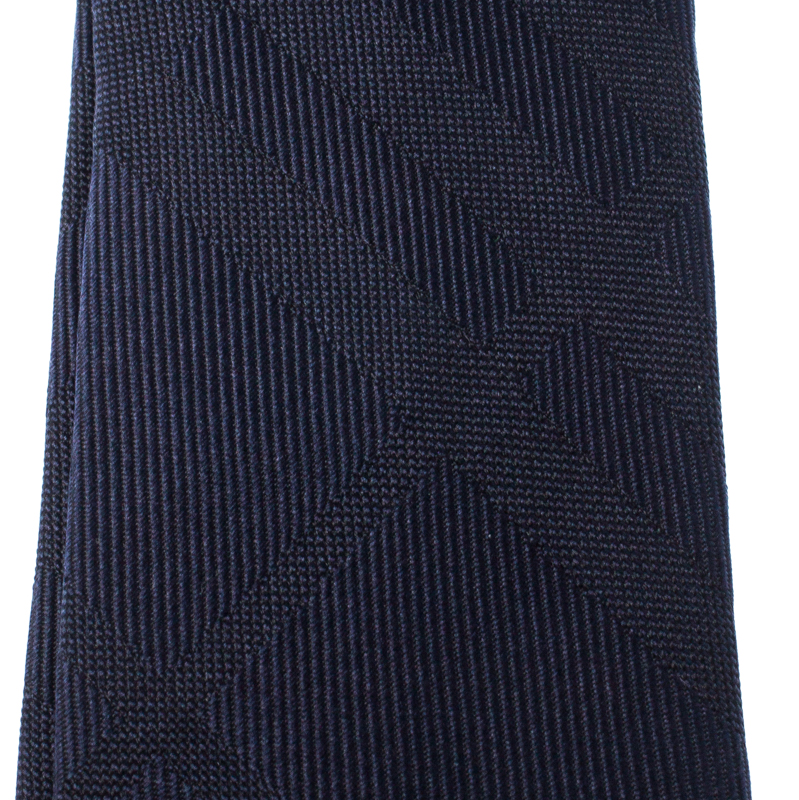 Burberry London Navy Blue Tonal House Check Silk Stanfield Slim Tie