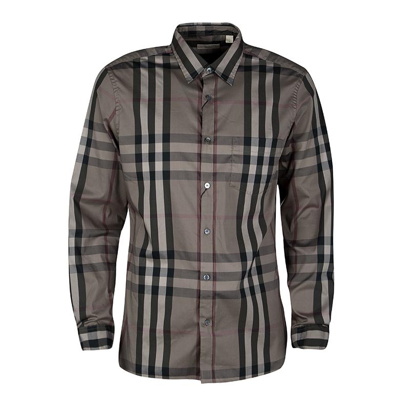 a7cddc402d0bd إشتري قميص بربري بيبل نيلسون أزرار أمامية أكمام طويلة كاروهات أخضر L ...