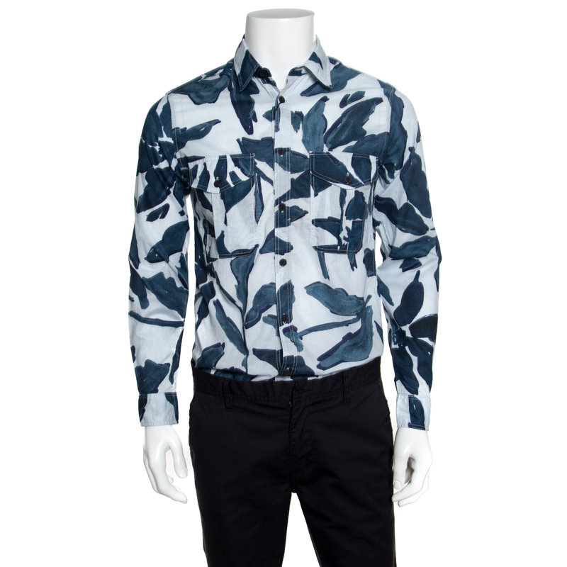 Купить со скидкой Burberry Brit Blue Floral Printed Cotton Patch Pocket Detail Shirt S