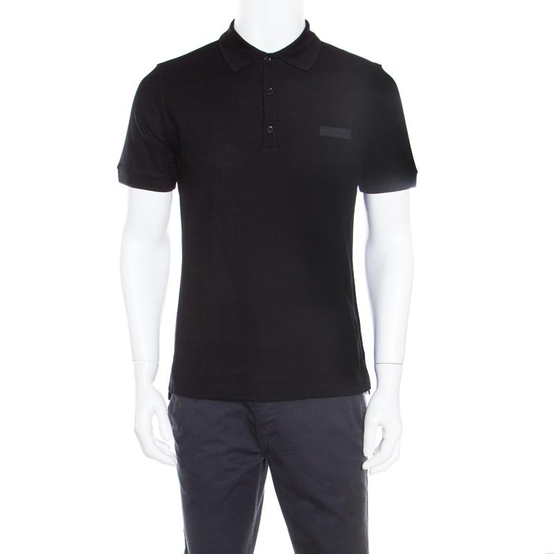 d7d6c1d8e7c1b Buy Burberry Black Honeycomb Knit Henningford Polo T-Shirt XL 167550 ...