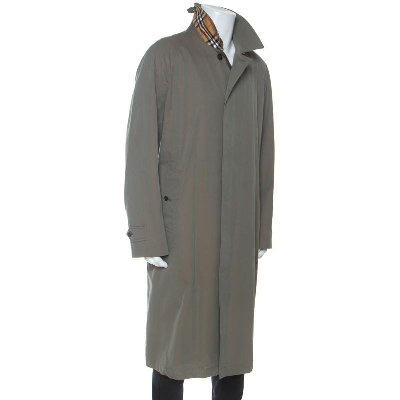Burberry Kreide Grün Baumwolle Twill Brighton Extra Long Trench Coat 3XL