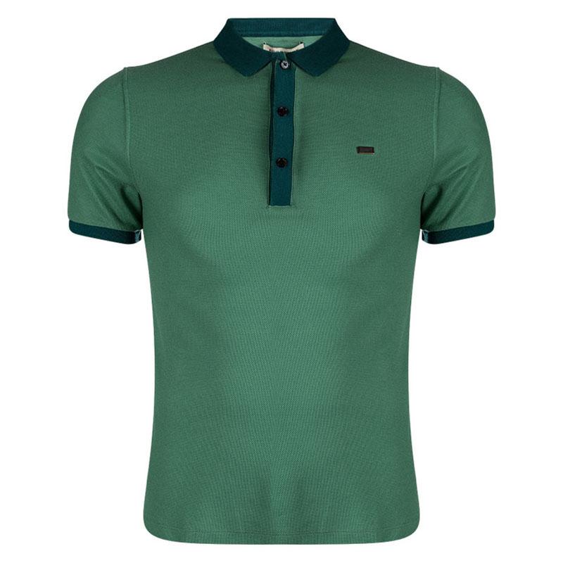 Buy Burberry London Aqua Green Contrast Collar Polo T-Shirt S 90706 ... d0377d4362c